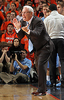 North Carolina Tar Heels head coach Roy Williams reacts to a call during the game against Virginia in Charlottesville, Va. North Carolina defeated Virginia 54-51.