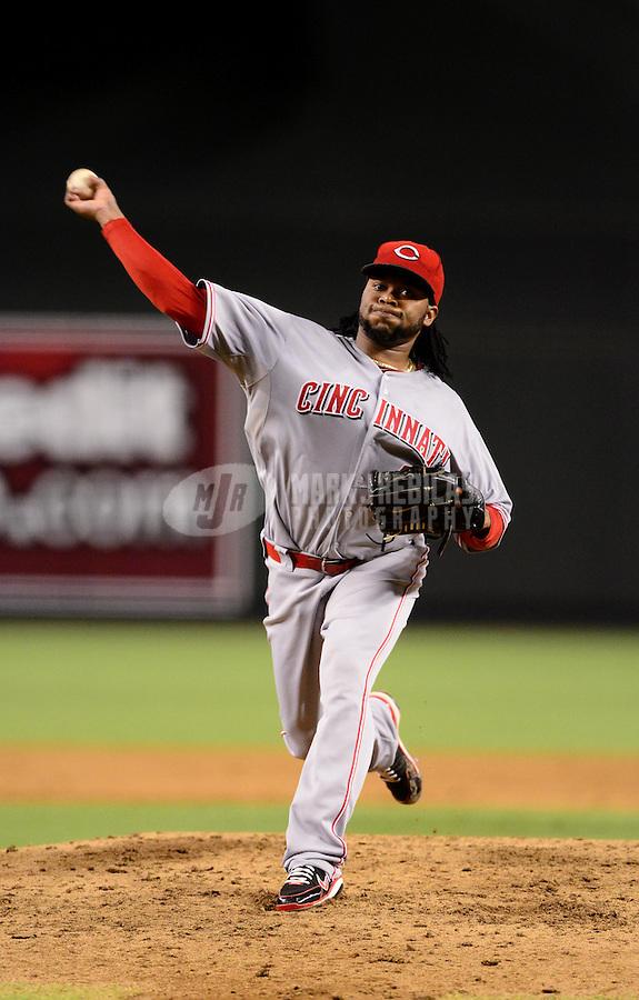 Aug. 28, 2012; Phoenix, AZ, USA: Cincinnati Reds pitcher Johnny Cueto against the Arizona Diamondbacks at Chase Field. Mandatory Credit: Mark J. Rebilas-
