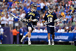 FOXBORO, MA - MAY 28: John Bassett #4 of the Merrimack Warriors with the ball during the Division II Men's Lacrosse Championship held at Gillette Stadium on May 28, 2017 in Foxboro, Massachusetts. (Photo by Larry French/NCAA Photos via Getty Images)