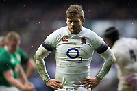 Elliot Daly of England looks on. Natwest 6 Nations match between England and Ireland on March 17, 2018 at Twickenham Stadium in London, England. Photo by: Patrick Khachfe / Onside Images