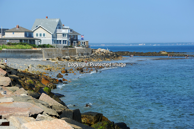 Rocky Beach and Houses in Wells, Maine