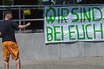 26.06.2020, Trainingsgelaende am wohninvest WESERSTADION,, Bremen, GER, 1.FBL, Werder Bremen Training, im Bild<br /> <br /> Milos Veljkovic (Werder Bremen #13)<br /> kommt in zivil zum  Abschlusstraining<br /> <br /> zeigt auf das Plakat der FANS WIR SIND BEI EUCH<br /> <br /> Foto © nordphoto / Kokenge