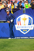 Ian Poulter (Team Europe) on the 1st tee during the Friday Foursomes at the Ryder Cup, Le Golf National, Ile-de-France, France. 28/09/2018.<br /> Picture Thos Caffrey / Golffile.ie<br /> <br /> All photo usage must carry mandatory copyright credit (&copy; Golffile | Thos Caffrey)