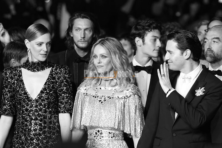 "Cannes Film Festival 2018 - 71st edition - Day 9 - May 16 in Cannes, on May 17, 2018; screening of the film ""Un couteau dans le coeur"";  (FromL) French actress Kate Moran, French actress Vanessa Paradis and French actor Nicolas Maury  . © Pierre Teyssot"