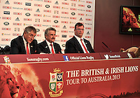 British & Irish Lions 2013 Tour Manager Andy Irvine , British & Irish Lions 2013 Head Coach, Chairman Gerald Davies, British & Irish Lions 2013  CEO  John Feehan informs the press that Warren Gatland, who has been appointed head coach of the British and Irish Lions for the tour to Australia in 2013 looks on at the press conference held at Ironmonger's Hall on September 4, 2012 in London, England.