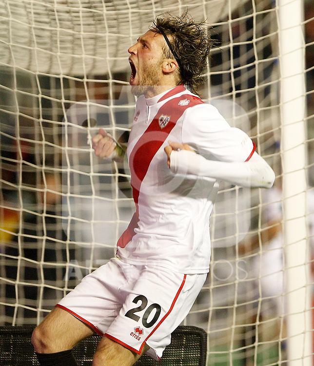 Rayo Vallecano's Michu celebrates goal during La Liga match.March 17,2012. (ALTERPHOTOS/Acero)