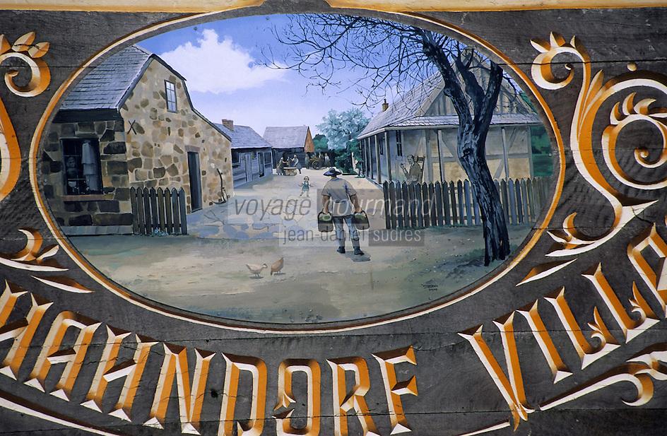 Océanie/Australie/South Australia/Australie Méridionale/Hahndorf: Enseigne du marché du village - Représentation de la vie villageoise