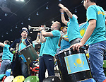 Kazakhstan fans celebrate. Rubber 2. Great Britain v Kazakhstan. World group II play off in the BNP Paribas Fed Cup. Copper Box arena. Queen Elizabeth Olympic Park. Stratford. London. UK. 20/04/2019. ~ MANDATORY Credit Garry Bowden/Sportinpictures - NO UNAUTHORISED USE - 07837 394578