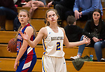 WINSTED,  CT-021919JS21-  Housatonic's Tori Dodge (2) reacts to getting called for a foul against Nonnewaug's Victoria Maclean (20) during their Berkshire League semi-final game Tuesday at Northwestern Regional High School in Winsted. <br /> Jim Shannon Republican American