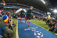 Lionel Messi of Barcelona leads his team out during the UEFA Champions League match between Manchester City and Barcelona at the Etihad Stadium, Manchester, England on 1 November 2016. Photo by Andy Rowland / PRiME Media Images.