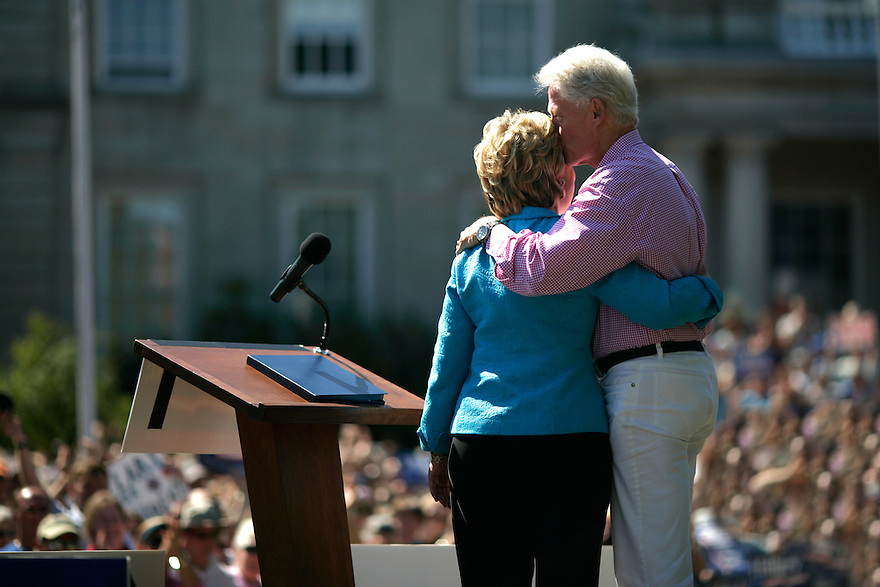 Democratic presidential candidate Senator Hillary Clinton (D-NY) and her husband former President Bill Clinton talk at a campaign event in Concord, New Hampshire on September 2, 2007.<br /> Photo by Brooks Kraft/Corbis