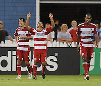 FC Dallas foward David Ferreira (10) celebrates his goal in the 36th minute of the game.  FC. Dallas defeated DC United 3-1 at RFK Stadium, Saturday August 14, 2010.