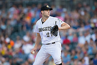 Charlotte Knights starting pitcher Lucas Giolito (27) in action against the Indianapolis Indians at BB&T BallPark on June 16, 2017 in Charlotte, North Carolina.  The Knights defeated the Indians 12-4.  (Brian Westerholt/Four Seam Images)