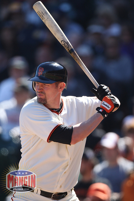 SAN FRANCISCO - SEPTEMBER 20:  Aubrey Huff of the San Francisco Giants bats during the game against the Colorado Rockies at AT&T Park on September 20, 2012 in San Francisco, California. (Photo by Brad Mangin)