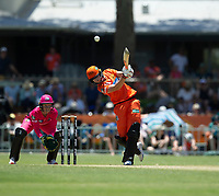 24th November 2019; Lilac Hill Park, Perth, Western Australia, Australia; Womens Big Bash League Cricket, Perth Scorchers versus Sydney Sixers; Meg Lanning of the Perth Scorchers plays through the air over covers during her innings - Editorial Use