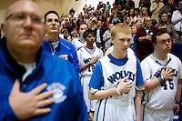 The Grandview High School unified basketball team during the national anthem before a game against Overland High School at Grandview High School in Aurora, Colorado, Wednesday, February 1, 2012. Unified sports teams, an outgrowth of the Special Olympics, are teams with both special needs and traditional high school students as players. The idea is that special needs kids shouldn't be separated and be allowed to participate in a competitive games as well at their schools...Photo by Matt Nager