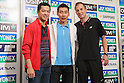 (L to R)  Taufik Hidayat (INA),  Lee Chong Wei (MAS),  Peter Gade (DEN), September 20, 2011 - Badminton : Lee Chong Wei attends press conference in Tokyo, Japan, regarding the Yonex poen Japan 2011 Badminton Championships 2011. (Photo by Yusuke Nakanishi/AFLO SPORT) [1090]