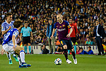 Andres Iniesta of FC Barcelona (R) in action during the La Liga match between Barcelona and Real Sociedad at Camp Nou on May 20, 2018 in Barcelona, Spain. Photo by Vicens Gimenez / Power Sport Images