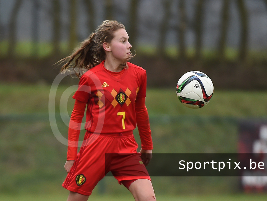20190206 - TUBIZE , BELGIUM : Belgian Jarne Teulings pictured during the friendly female soccer match between Women under 17 teams of  Belgium and The Netherlands , in Tubize , Belgium . Wednesday 6th February 2019 . PHOTO SPORTPIX.BE DIRK VUYLSTEKE