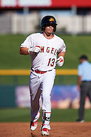 Mesa Solar Sox outfielder Caleb Adams (13) runs the bases after hitting a home run during an Arizona Fall League game against the Glendale Desert Dogs on October 14, 2015 at Sloan Park in Mesa, Arizona.  Glendale defeated Mesa 7-6.  (Mike Janes/Four Seam Images)