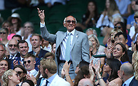 Sports commentator Barry Davies in the Royal box on Centre Court <br /> <br /> Photographer Rob Newell/CameraSport<br /> <br /> Wimbledon Lawn Tennis Championships - Day 6 - Saturday 7th July 2018 -  All England Lawn Tennis and Croquet Club - Wimbledon - London - England<br /> <br /> World Copyright &not;&copy; 2017 CameraSport. All rights reserved. 43 Linden Ave. Countesthorpe. Leicester. England. LE8 5PG - Tel: +44 (0) 116 277 4147 - admin@camerasport.com - www.camerasport.com