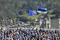 A view of Bath flags above the Novia stand. Amlin Challenge Cup quarter-final, between Bath Rugby and Stade Francais on April 6, 2013 at the Recreation Ground in Bath, England. Photo by: Patrick Khachfe / Onside Images