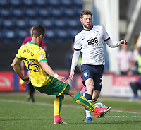 Preston North End's Tom Barkuizen in action with Norwich City's Ivo Pinto<br /> <br /> Photographer Mick Walker/CameraSport<br /> <br /> The EFL Sky Bet Championship - Preston North End v Norwich City - Monday 17th April 2017 - Deepdale - Preston<br /> <br /> World Copyright &copy; 2017 CameraSport. All rights reserved. 43 Linden Ave. Countesthorpe. Leicester. England. LE8 5PG - Tel: +44 (0) 116 277 4147 - admin@camerasport.com - www.camerasport.com