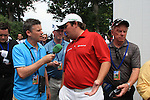 Shane Lowry (IRL)speaking to the journalists after finishing his round.on day one of the USGA at Congressional country club, Bethesda, Washington, 16/6/11.Picture Fran Caffrey/www.golffile.ie
