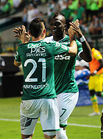 CALI - COLOMBIA, 02-09-2017: Miguel Murillo (Der) jugador del Deportivo Cali celebra después de anotar un gol a Atletico Bucaramanga durante partido por la fecha 11 de la Liga Aguila II 2017 jugado en el estadio Palmaseca de la ciudad de Palmira. / Miguel Murillo (R) player of Deportivo Cali celebrates after scoring a goal to Atletico Bucaramanga during match for the date 11 of the Aguila League II 2017 played at Palmaseca stadium in Palmira city. Photo: VizzorImage / Nelson Rios / Cont