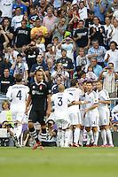 02.09.2012 SPAIN -  La Liga 12/13 Matchday 3th  match played between Real Madrid CF vs  Granada C.F. (3-0) at Santiago Bernabeu stadium. The picture show  Kepler Laveran Pepe (Portuguese/Brazilian defender of Real Madrid) celebrating his team's goal