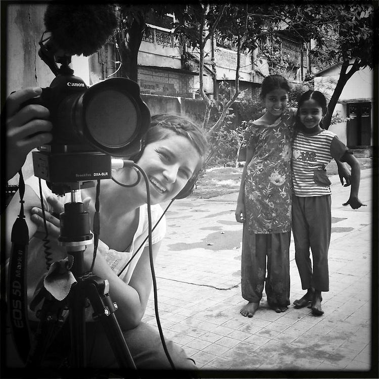 10x10 Field producer, Gina Nemirofsky, interviewing girls in Kolkata, India.