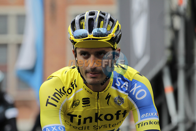 Daniele Bennati (ITA) Tinkoff-Saxo at the sign on before the start of the 2014 Tour of Flanders, Bruges, Belgium.<br /> Picture: Eoin Clarke www.newsfile.ie