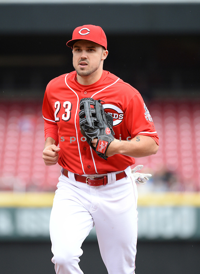 Cincinnati Reds Adam Duvall (23) during a game against the Philadelphia Phillies on April 7, 2016 at the Great American Ballpark in Cincinnati, OH. The Reds beat the Phillies 10-6.
