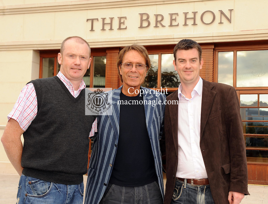 Singer Cliff Richard s with Shane O'Driscoll and Cllr John O'Donoghue  at a civic reception held in his honour by Killarney Town Council at The Brehon Hotel Killarney on Monday evening. Cliff Richard and the Shadows will play the opening gig of their 50th anniversary tour  at the INEC Killarney on Saturday September 19th . Picture: Eamonn Keogh (MacMonagle, Killarney)