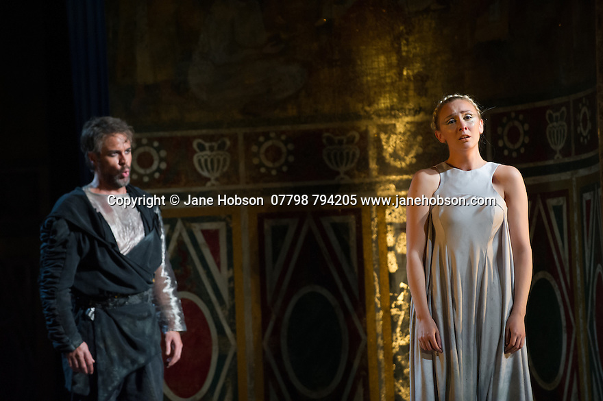 London, UK. 15.10.2014. English Touring Opera presents OTTONE, by George Frideric Handel, directed by James Conway, at the Hackney Empire. Picture shows:  Louise Kemeny (Teofane) and Grant Doyle (Emireno). Photograph © Jane Hobson.