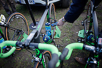 The (eventual) winning bike of Mathew Hayman (AUS/Orica-GreenEDGE) was scanned by the UCI (as were many others) for mechanical doping before the race start in Compi&egrave;gne<br /> <br /> 114th Paris-Roubaix 2016