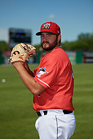 Batavia Muckdogs pitcher Bryce Howe (50) poses for a photo before a NY-Penn League game against the West Virginia Black Bears on June 26, 2019 at Dwyer Stadium in Batavia, New York.  Batavia defeated West Virginia 4-2.  (Mike Janes/Four Seam Images)