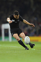 Dan Carter of New Zealand takes a conversion attempt during Match 23 of the Rugby World Cup 2015 between New Zealand and Georgia - 02/10/2015 - Millennium Stadium, Cardiff<br /> Mandatory Credit: Rob Munro/Stewart Communications