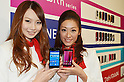 October 18, 2011, Tokyo, Japan - Models show NTT Docomos smartphones during a launch of 2011 winter/2012 spring models in Tokyo on Tuesday, October 18, 2011. The new products include 14 smartphones, of which four models are designed for Docomos extra-high-speed next-generation LTE service for mobile data communication at up to 75 Mbps. (Photo by Koichi Mitsui/AFLO) .