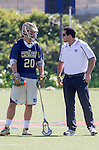Costa Mesa, CA 03/08/14 - Nick Ossello (Notre Dame #20) and Notre Dame coach<br />  in action during the Notre Dame Irish and Denver Pioneers NCAA Men's lacrosse game at LeBard Stadium in Costa Mesa, California as part of the 2014 Pacific Coast Shootout.  Denver defeated Notre Dame 10-7 in front of a crowd of over 5800 spectators.