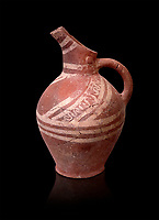Early Minoan decorated clay jugs ,  Michlos Cemetery 2600-1900 BC BC, Heraklion Archaeological  Museum, black background.