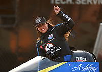 Sep 2, 2017; Clermont, IN, USA; NHRA top fuel driver Ashley Sanford celebrates qualifying for the US Nationals at Lucas Oil Raceway. Mandatory Credit: Mark J. Rebilas-USA TODAY Sports