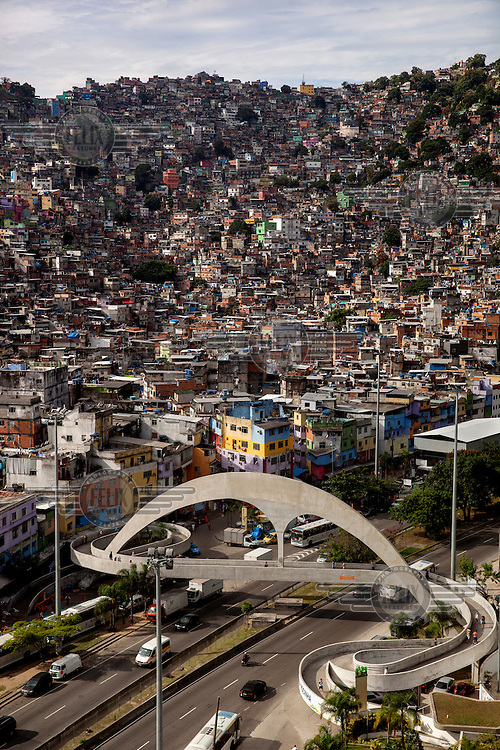 The Rocinha favela with a pedestrian road crossing (The Passarela Oscar Niemeyer) designed by the famous architect.