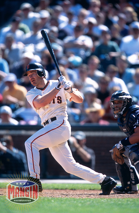 SAN FRANCISCO, CA - David Bell of the San Francisco Giants bats during a game against the Milwaukee Brewers at Pacific Bell Park in San Francisco, California on April 14, 2002. Photo by Brad Mangin