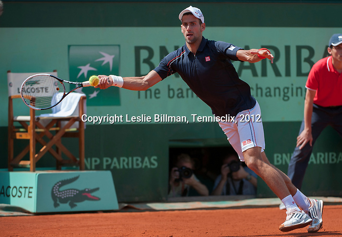 Novak Djokovic (SRB) wins in second round  at Roland Garros in Paris, France on May 30, 2012