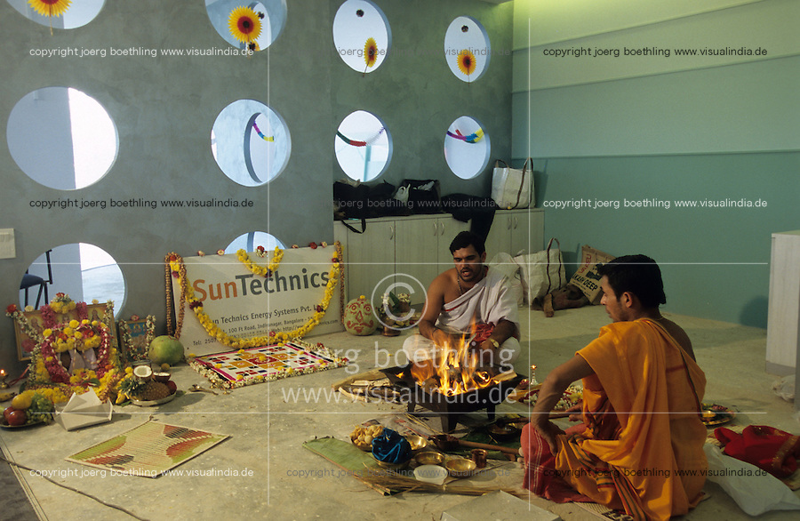 "S?dasien Asien Indien IND Karnataka Bangalore .B?ro Einweihung mit Hindu Puja bei deutscher Firma Niederlassung von Suntechnics in Bangalore  - Wirtschaft Industrie Energieerzeugung Energiemarkt Energiesektor Stromerzeugung Strom Stromnetz Energienetz Energieverbrauch Infrastruktur saubere gr?ne alternative erneuerbare regenerative Energie Solar Solarzellen Solarmodule Photovoltaik Solarenergie Feuer heilig Zeremonie Gebet Hindus Priester Hinduismus Religion deutscher Mittelstand Firmen im Ausland Investitionen xagndaz | .South Asia India Karnataka Bangalore .office opening hindu puja at german company sun technics in Bangalore -  indian energy economy industry renewables solar energy grid infrastructure power generation supply green development growth modern religion hinduism .| [ copyright (c) Joerg Boethling / agenda , Veroeffentlichung nur gegen Honorar und Belegexemplar an / publication only with royalties and copy to:  agenda PG   Rothestr. 66   Germany D-22765 Hamburg   ph. ++49 40 391 907 14   e-mail: boethling@agenda-fototext.de   www.agenda-fototext.de   Bank: Hamburger Sparkasse  BLZ 200 505 50  Kto. 1281 120 178   IBAN: DE96 2005 0550 1281 1201 78   BIC: ""HASPDEHH"" ,  WEITERE MOTIVE ZU DIESEM THEMA SIND VORHANDEN!! MORE PICTURES ON THIS SUBJECT AVAILABLE!! INDIA PHOTO ARCHIVE: http://www.visualindia.net ] [#0,26,121#]"