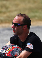 Aug. 31, 2013; Clermont, IN, USA: NHRA pro stock motorcycle rider Matt Smith during qualifying for the US Nationals at Lucas Oil Raceway. Mandatory Credit: Mark J. Rebilas-