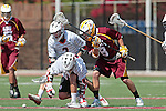 Orange, CA 05/02/10 - Bryan Siegel (ASU # 8), Andrew Nordstrom (Chapman # 2) and Brian Bell (Chapman # 19) in action during the Chapman-Arizona State MCLA SLC Division I final at Wilson Field on Chapman University's campus.  Arizona State defeated Chapman 13-12 in overtime.