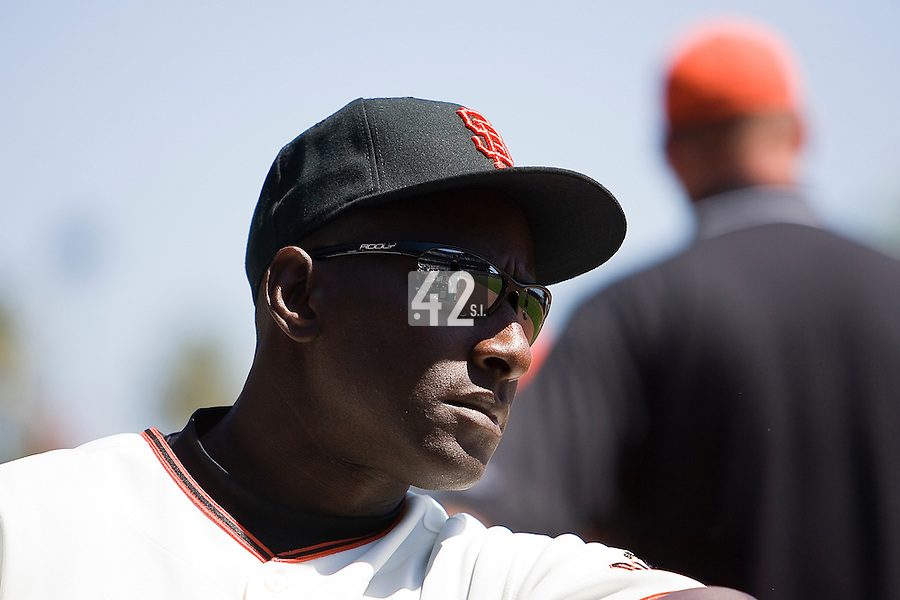 12 April 2008: First base coach Roberto Kelly of the Giants is seen in the dugout during the St. Louis Cardinals 8-7 victory over the San Francisco Giants at the AT&T Park in San Francisco, CA.