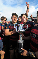 The Hastings team celebrates winning the 2017 1st XV rugby Top Four boys final between Hastings Boys' High School and Hamilton Boys' High School at Sport and Rugby Institute in Palmerston North, New Zealand on Sunday, 10 September 2017. Photo: Dave Lintott / lintottphoto.co.nz